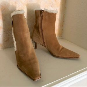 Stuart Weitzman Leather Ankle Bootie Fur Lined 9.5